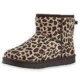 Warm Damen Schuhe Stiefel Animal Print Leo Schlupfstiefel Leopard 36 Jennika