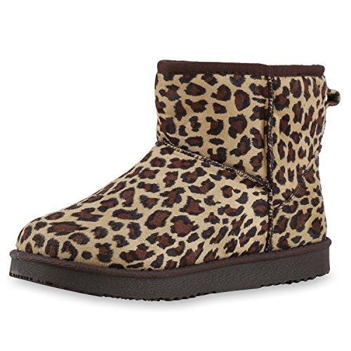 Warm Damen Schuhe Stiefel Animal Print Leo Schlupfstiefel Leopard 38 Jennika (Leopard Print Stiefel)