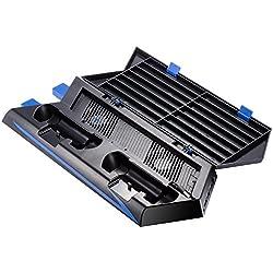 SODIAL Pour PS4 Ventilateur de Refroidissement a Support Vertical Double Station de Charge pour Playstation 4 DualShock 4 Controleurs