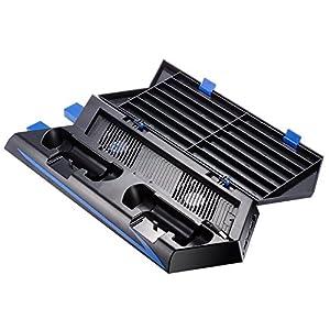 TOOGOO Fuer PS4 Vertikaler Standkuehlungsluefter Dual Ladestation fuer Playstation 4 DualShock 4 Kontroller, mit 2 USB HUB Ladeports und 14 Disc Storage Manager