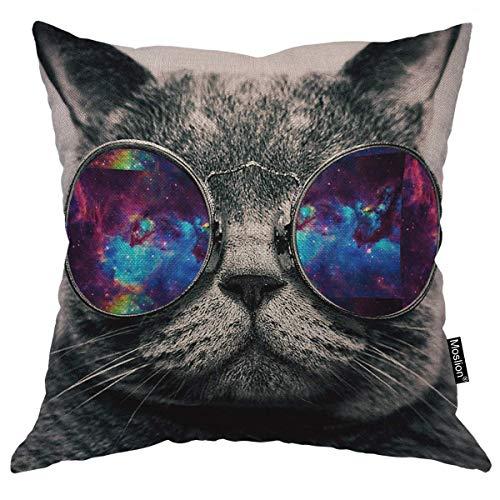 odin sky Galaxy Hipster Cat Theme Dekokissen Abdeckung Sonnenbrille Tier Platz Kissenbezug Kissenbezug für Vatertag Home Auto Dekorative Baumwolle Grau, 45x45 cm