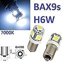 2x BAX9s H6W mit 5-Power SMD - XENON WEISS - LED Bajonettverschluss (versetzte Pins) 12V ideal als Standlicht Kennzeichenbeleuchtung Innenraumbeleuchtung Blinklicht Parkleuchten vorne und hinter Nebelschlussleuchten. INION®