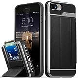 Vena Custodia del Portafoglio iPhone 8 Plus/7 Plus, vCommute [Protezione a Goccia Militare] Rivestimento in Cuoio Flip Supporto per Slot per schede con cavalletto (Grigio/Nero)