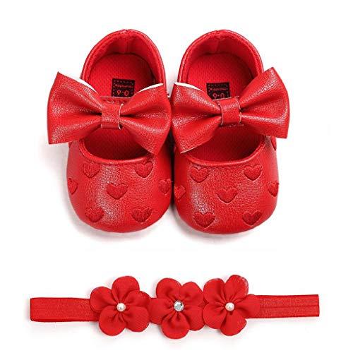 Zapatos Bebé Niña+Diademas SHOBDW Regalo Flores Suela Suave Antideslizante Zapatillas Lindo Dulce...
