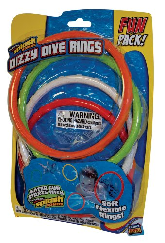Prime Time Toys - Diving Masters Dizzy Dive Rings (4 Pack Pool Dive Toys) -