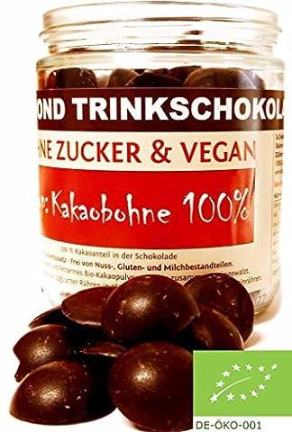 Edelmond® Bio für dunkle Trinkschokolade / Heißer Kakao Lemongras und Chili ✓ Ohne Zucker und Ohne Süßstoffe ✓ 100 % Edelkakao + Chili ✓ Vegan & Fairtrade ✓ Konzentrat für Trink- Zartbitter-Schokolade / Herrenschokolade -