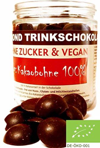 Edelmond® Bio für dunkle Trinkschokolade / Heißer Kakao - Kein Pulver! ✓ Ohne Zucker und Ohne Süßstoffe ✓ 100 % Edelkakao ✓ Vegan & Fairtrade ✓ Konzentrat für Trink- Zartbitter-Schokolade / Herrenschokolade - 225g