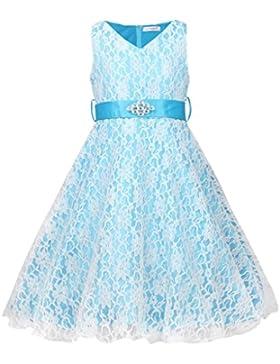 JerrisApparel bambini principessa vestito, pizzo raso fiore di ragazza abito