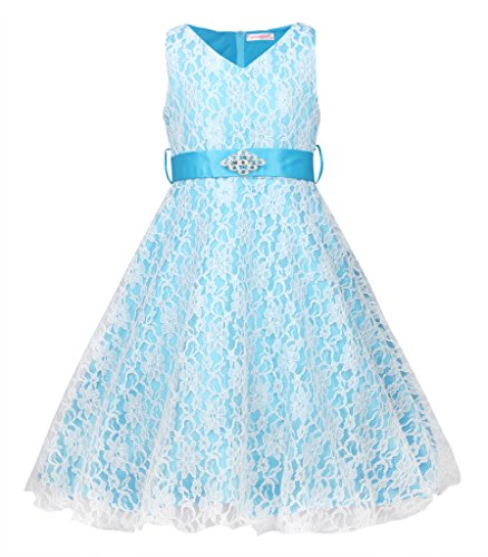 JerrisApparel Kids Prinzessin Spitze Satin Brautjungfer Festzug Blume Mädchen Kleid (160cm/12...