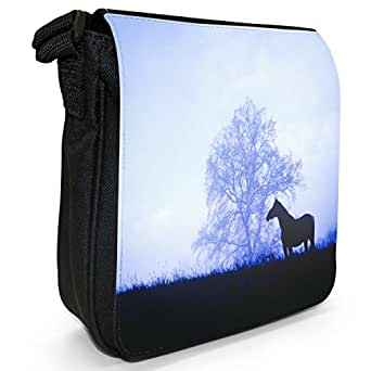Silhouette Of Horse Standing In Meadow Small Black Canvas Shoulder Bag / Handbag