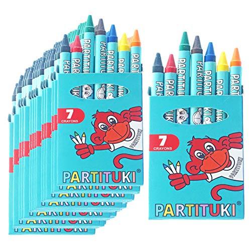Partituki Mitgebsel Kindergeburtstag Junge 25 Sets mit 7 Farbige Crayons. Kleine Geschenke für Kinderparty. Pinata Füllung. Ungiftig Zertifiziert