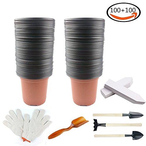 Whonline 100 4 Zoll Plastik Doppelfarben Pflanzen Töpfe Blumentöpfe mit 100 weiße Pflanzenetiketten, 1 Set Garten Handschuhe, 1 Schaufel und 1 Bodenslöffel