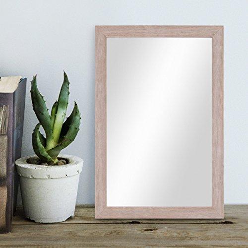 PHOTOLINI Wand-Spiegel 23x33 cm im Holzrahmen Sonoma Eiche Hell Modern/Spiegelfläche 20x30 cm