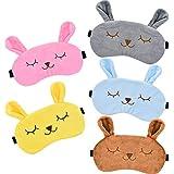 5 Piezas de Máscara de Dormir de Animal Máscara de Ojos de Conejo Antifaz de Dormir