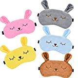 5 Pieces Animal Sleep Mask Rabbit Eye Mask Soft Plush Blindfold Eye Cover