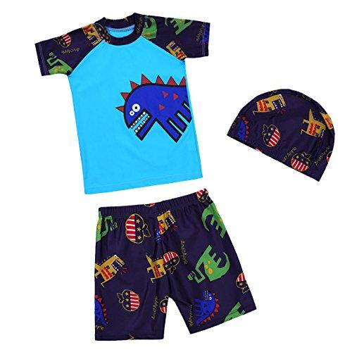 iEFiEL Kinder Jungen Bademode, Jungen Badeshorts UV-Schutz Bade-Set Sommer Top & Badehose & Badekappe Krokodil Muster Blau 140-152