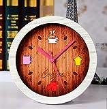 Hongge Kaminuhren,Mode kreativ Vintage Holz Uhr Tischuhr 12 * 12cm