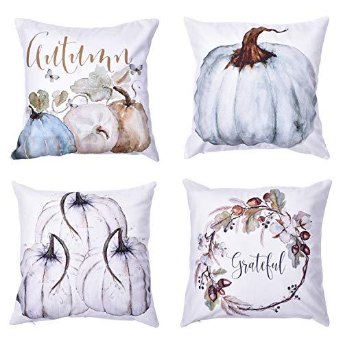 nbezüge, für Halloween, dekorative Herbst-Kissenbezüge, 4 Stück, Baumwollmischung, 45,7 x 45,7 cm ()