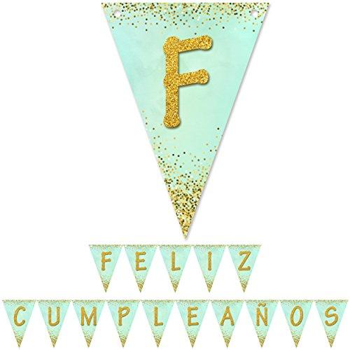Banderin feliz cumpleaños verde menta oro guirnalda de papel