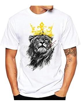 Amlaiworld Sommer Fashion Tier Print T-Shirt mit kurz Ärmel für Herren, Weiß Cool Causal langarm T-Shirt