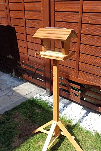 Vogelfutterhaus mit Ständer K-VOFU2G-MS-dbraun001 NEU PREMIUM-Qualität,Vogelhaus,mit ständer, 3D-SILO - VOGELFUTTERHAUS MIT 2 GROSSEN SICHTSCHEIBEN Qualität Schreinerware 100% Massivholz - VOGELFUTTERHAUS MIT FUTTERSCHACHT-Futtersilo Futterstation Farbe braun dunkelbraun schokobraun rustikal klassisch, Ausführung Naturholz, mit KLARSICHT-Scheibe zur Füllstandkontrolle