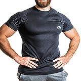 Natural Athlet Fitness T-Shirt Thermo - Herren Männer Kurzarm Shirt Optimal für Fitnessstudio, Gym & Training - Passform Slim-Fit, Rundhals & Tailliert - Sport & Freizeit