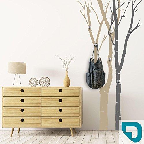DESIGNSCAPE® Garderobe Birkenstämme | Bäume als Garderobe mit Haken 102 x 200 cm (Breite x Höhe) Farbe 1: türkis inkl. 6 Edelstahl Wandhaken DW811050-M-F33