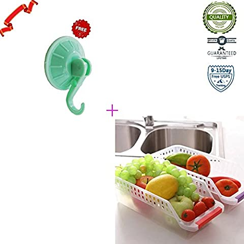 Vinilo para nevera y congelador de almacenamiento bin, bandeja de cocina con mango, 30,5cm por 12,7cm por cm,