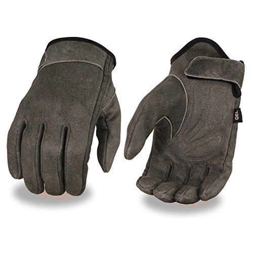Milwaukee Motorcycle Clothing Men's Biker riding Distressed grey Gel palm real leather gloves wrist strap New(XL)