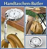 Wenko Handtaschen-Butler Uhr- Strass-Steine, Handbag Butler, Taschenhalter, Handtaschenhalter, Taschenaufhänger, Bag butler, Samtsäckchen