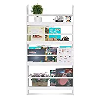 Homfa Children Wall Bookcase Kids Shelves Wooden Book Display Stand Organizer White