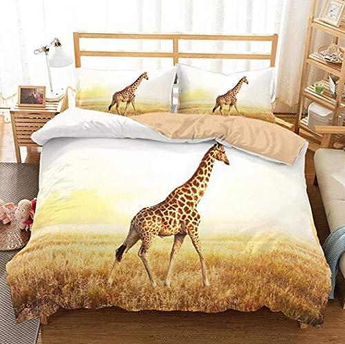 JSDJSUIT Bettwäsche-Set 3D Druck Tier Giraffe/Zebra/Swan Serie Bettwäsche Set3tlg, AU Doppel 3tlg (Zebra-rosa-bettwäsche-voll)
