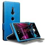 TERRAPIN, Kompatibel mit Sony Xperia XZ2 Hülle, Leder Tasche Case Hülle im Bookstyle mit Standfunktion Kartenfächer - Hellblau
