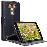 LG G4 Case, Terrapin Leder Tasche Case Hülle im Bookstyle mit Standfunktion Kartenfächer für LG G4 Hülle Schwarz