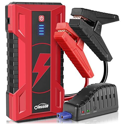 Oasser Arrancador de Coche 15000mAh 1000A Jump Starter 12V Batería Externa de Carga Rápida hasta 7L de Gasolina o 5L de Diesel Arranque Batería con Pinzas Inteligentes Linterna LED J5