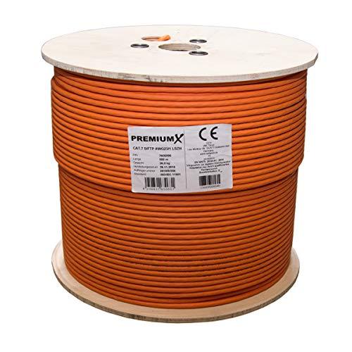 500 Meter PremiumX CAT 7 Verlegekabel Netzwerkkabel Installationskabel Cat.7 Datenkabel bis zu 10 Gigabit Ethernet orange
