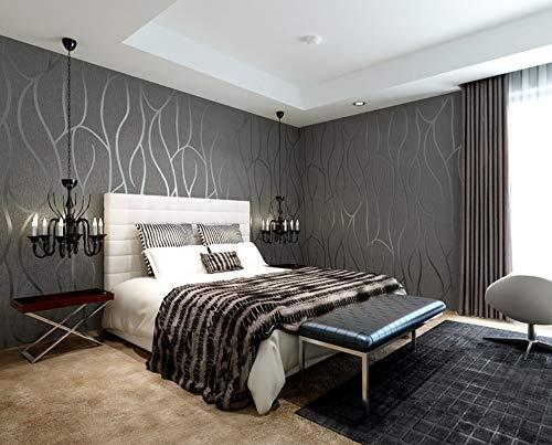 YANFLY Graue Moderne 3D-Kurve Tapete High-End Deer Velvet Abstract Line Schlafzimmer Wohnzimmer Hintergrundbild 0,53 * 10m - Velvet Schlafzimmer