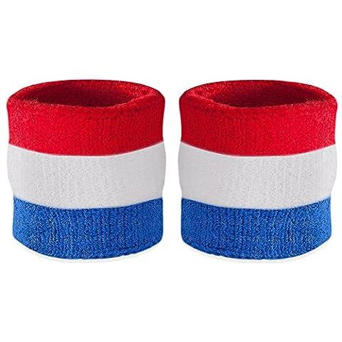 Suddora Handgelenk Schweißband, Baumwoll-Frottee, für Sport (1Paar), Red White & Blue