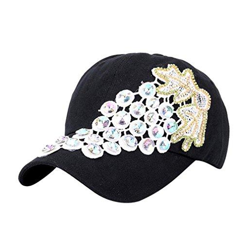 UFACE Grape Punktbohrer Baseballkappe Frauen Strass Baseball Cap Snapback Hip Hop Flachen Hut (Schwarz)
