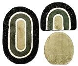 Badgarnitur 3 tlg. Set 80 x 50 cm oval schwarz grau weiß mit Glitzer, 2cm Flor, WC Vorleger ohne Ausschnitt für Hänge-WC
