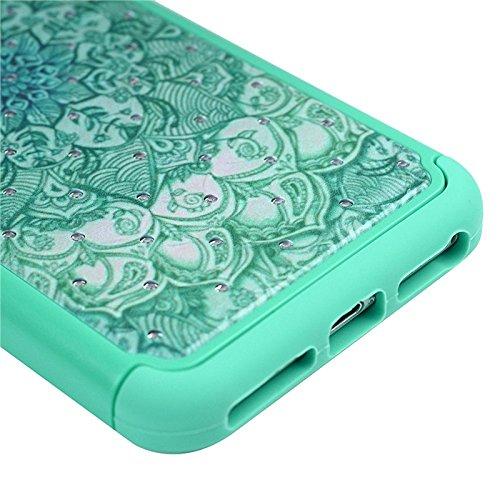 Für iPhone 7, Yokata Bling Diamant 3 in 1 Case Sehr Dünn mit Soft Cover Blumen Motiv Hülle Weich TPU Silikon Bumper Backcover Shell Schutzhülle Handyhülle + 1 x Kapazitive Feder Grün