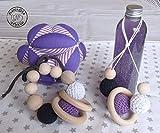 KIT 4 Geschenke für Brüder, Flasche Ruhe, Baby Ball, Pflege Halskette, Holz Rassel, Montessori-Stil, lila Ton