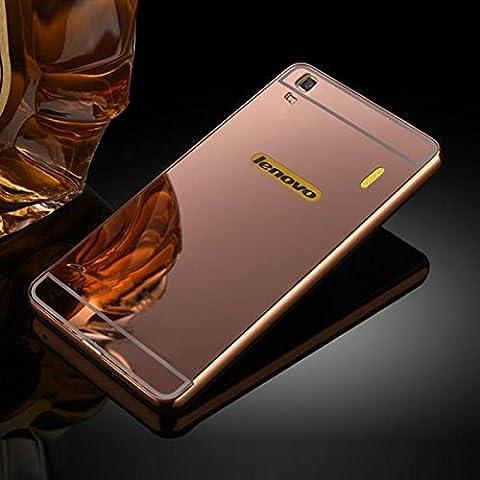 Lenovo K3 Note Coque, Moonmini® Ultra Bumper cadre Slim Case métal avec effet miroir de réflexion pour Lenovo K3 Note, Or rose