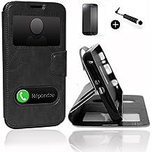 LG G5 super PACK premuim Etui fenêtres Housse Coque Folio noir PU + mini stylet screen touch + verre trempé Dureté 9H, Ultra-mince Anti-rayures Anti-traces haute-réponse haute transparence by PH26®