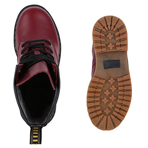 Derbe Damen Stiefeletten | Worker Boots Profilsohle| Camouflage Stiefel | Schnürschuhe Animal Print Dunkelrot