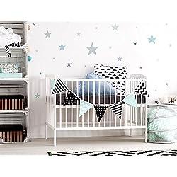 I-love-Wandtattoo WAS-10452 - Set de pegatinas de pared para habitación infantil, estrellas en colores pastel en gris suave y tonos verdes, 25 unidades, estrellado para pegar, adhesivos de pared, pegatinas, decoración de la pared