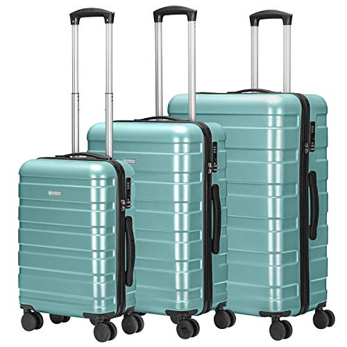 AMASAVA 4 Rollen Hartschale Koffer Set Handgepäck Rollkoffer Trolley Reisekoffer mit TSA-Schloss ABS+PC Zwillingsrollen Hartschalentrolley Taschen Gepäck (Tiffany blau, Set)