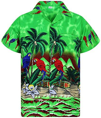V.H.O. Funky Hawaiihemd, Kurzarm, Papagei, grün, L
