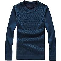 Zyh Suéteres de los Hombres, Otoño Invierno Espesar Pullover Moda Camisa de Gran tamaño Caliente para Tocar Fondo Cuello Redondo Delgado Jersey de Manga Larga (Color : Segundo, tamaño : XXL)