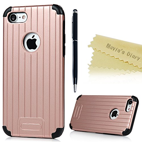 Mavis's Diary iPhone 7(4,7 Zoll) Case Grau Stamm Muster Design 2in1 (PC Outside + TPU Inside) Dual Protective Handycase Hüllen Schutzhülle Back Cover Scratch Telefon-Kasten Handyhülle Handycover + 1x  Rosa